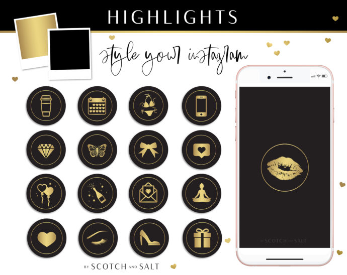 Instagram Story Highlight Icons, Black and Gold Glam Instagram Story Covers Bundle, Fashion and Beauty Instagram Stories, App Icon Aesthetic