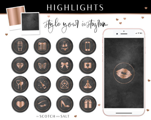 Black Rose gold Marble Instagram Stylish Social Media Highlight Cover Icons by Scotch and Salt
