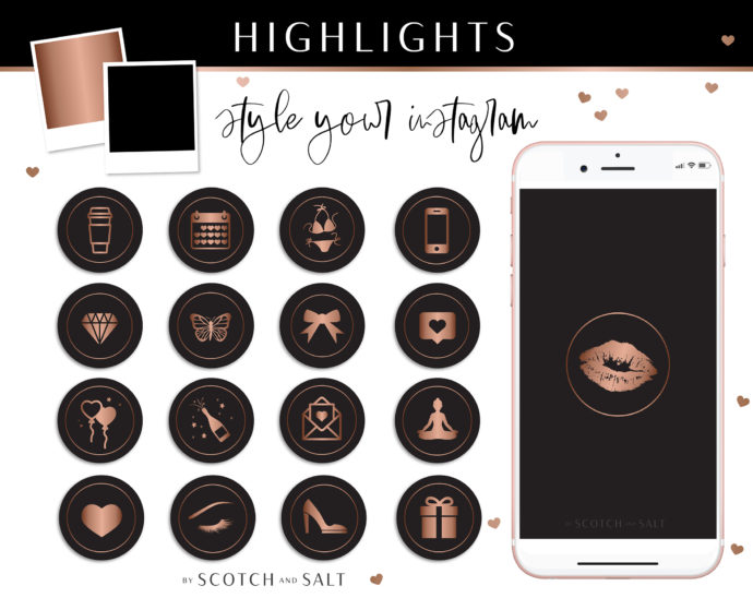 Black Rose gold Instagram Stylish Social Media Highlight Cover Icons by Scotch and Salt