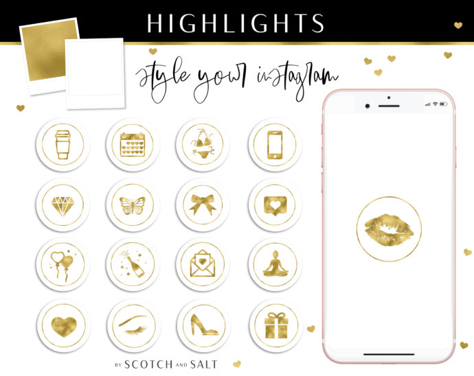 Gold Instagram Stylish Social Media Highlight Cover Icons by Scotch and Salt