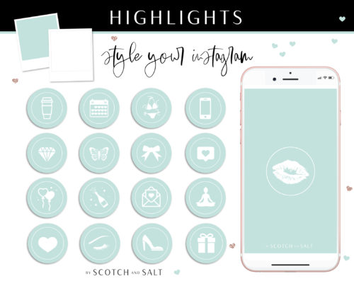 Mint Instagram Stylish Social Media Highlight Cover Icons by Scotch and Salt