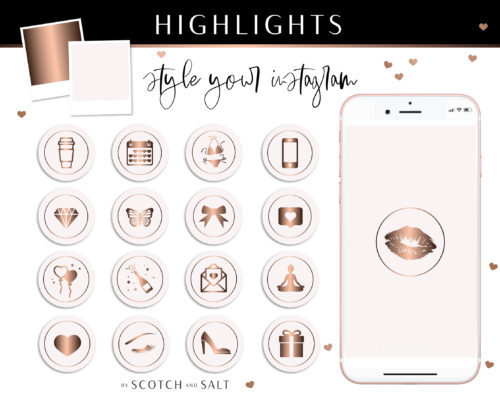 Pink Rose Gold Instagram Stylish Social Media Highlight Cover Icons by Scotch and Salt