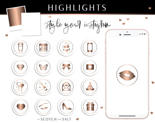 Rose Gold Instagram Stylish Social Media Highlight Cover Icons by Scotch and Salt