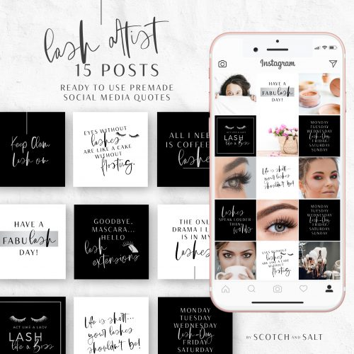 Lash Artist Ready to use Premade Social Media Quotes by Scotch and Salt in Silver and Black