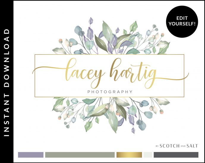 Edit Yourself Gold and Lavender Logo Design for Photographers by Scotch and Salt