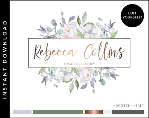 Edit Yourself Floral Rose Gold and Mint Logo Design for Photographers by Scotch and Salt
