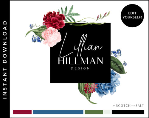 Edit Yourself Red Rose and Blue Hydrangea Premade Logo Design for Photographers by Scotch and Salt