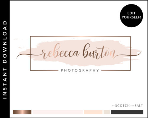 Edit Yourself Rose Gold and Pink Watercolor Premade Logo Design for Photographers by Scotch and Salt