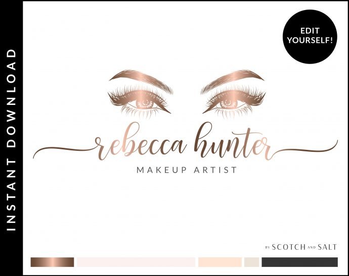Edit Yourself Rose Gold and Pink Premade Logo Design for Makeup Artists by Scotch and Salt