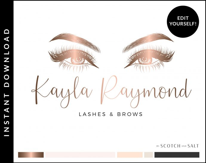 Edit Yourself Rose Gold and Pink Premade Logo Design for Lash and Brow Artists by Scotch and Salt