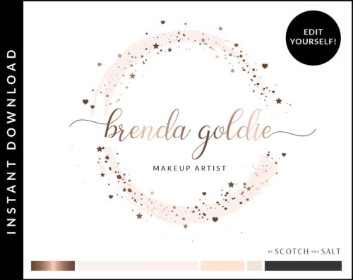 Star Heart Watercolor Logo with circle frame Premade Logo Design for Makeup Artist by Scotch and Salt