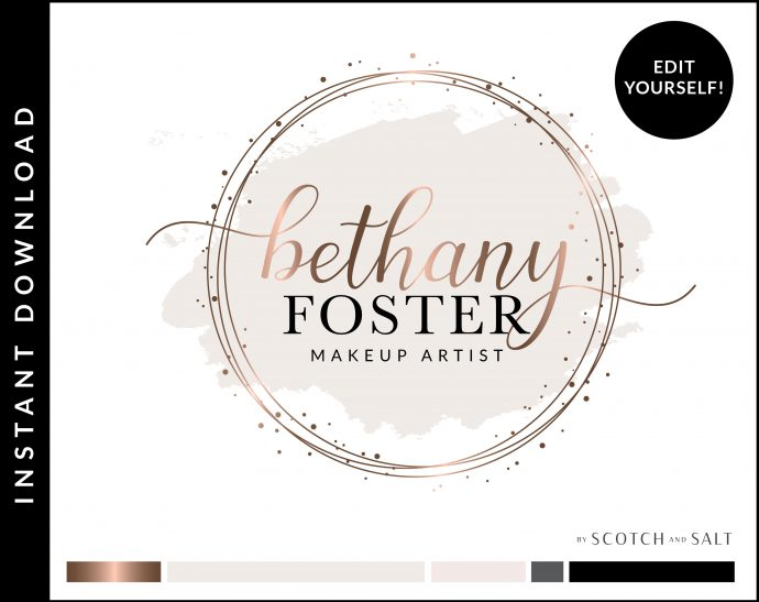 Edit Yourself Rose Gold Watercolor Premade Logo Design for Makeup Artist by Scotch and Salt