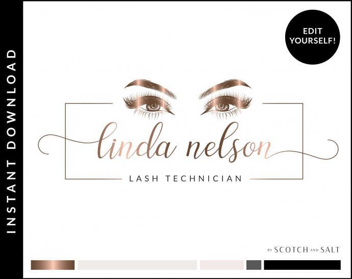 Edit Yourself Rose Gold Premade Logo Design for Lash Technicians by Scotch and Salt