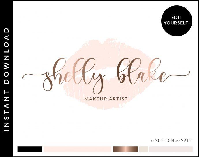 Makeup Artist Lips Premade Logo Design for Makeup Artists by Scotch and Salt