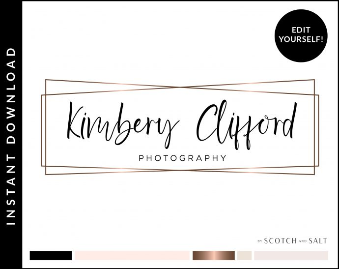 Rose Gold Logo, Branding Package, Rose Gold Branding Kit Logo Design Premade Branding Package, Stamp, Photography Logo, Watermark by Scotch and Salt