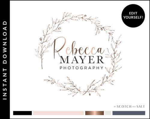 Minimal Rose Gold Botanical Floral Wreath Logo Design for Photographers by Scotch and Salt