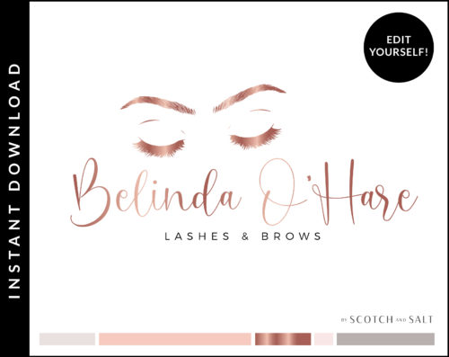 Rose Gold and Pink Brow Lash Artist logo for Makeup SalonPremade Logo Design for Lash and Brow Artists by Scotch and Salt