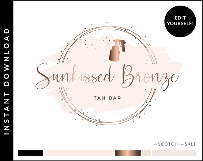 Edit Yourself Rose Gold and Pink Premade Logo Design for Tan Bars by Scotch and Salt