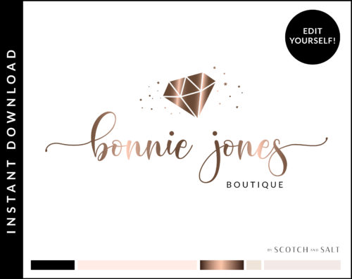 Edit Yourself Rose Gold Premade Logo Design for Boutiques by Scotch and Salt