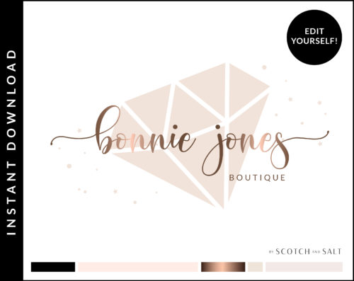 Rose Gold Diamond Glitter Jewelry Premade Logo Design for Boutiques by Scotch and Salt