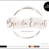 Rose Gold Watercolor Circle Double Border Calligraphy Premade Logo Design for Photographers by Scotch and Salt