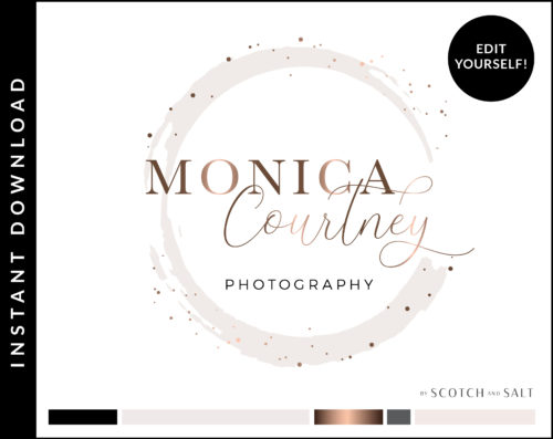 Edit Yourself Rose Gold Circle Sparkle Confetti Premade Logo Design for Photographers by Scotch and Salt