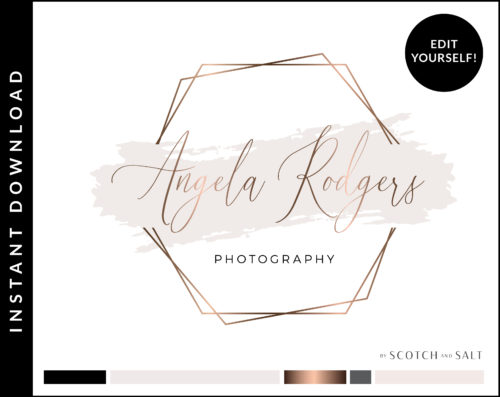 Edit Yourself Rose Gold Sparkle Hexagon Premade Logo Design for Photographers by Scotch and Salt