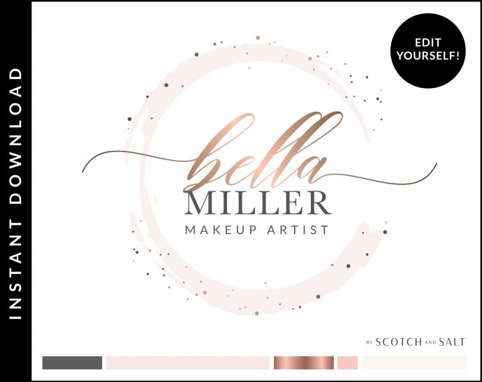 Edit Yourself Rose Gold Sparkle Round Premade Logo Design for Makeup Artist by Scotch and Salt