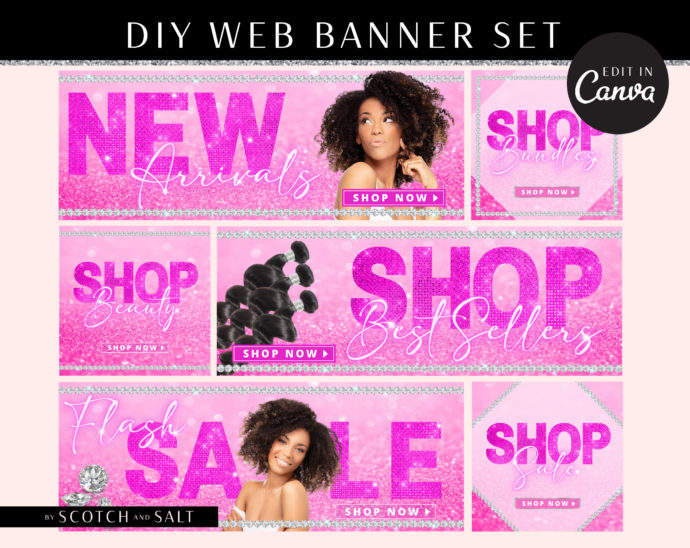 DIY Web Banners, Web Design Kit, Hair Lash Lip gloss Banners, Website Slider Templates, Do it Yourself Diamond Website Store Category Banner