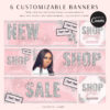 DIY Web Banners, Web Design Kit, Hair Lash Extensions Banners, Website Slider Template, Do it Yourself Diamond Website Store Category Banner