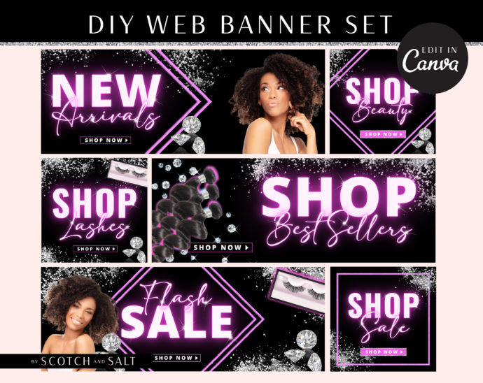DIY Neon Pink Web Banners, Web Design Kit, Hair Lash Beauty Makeup Website Slider Banner Template, Diamond Website Store Category banner set