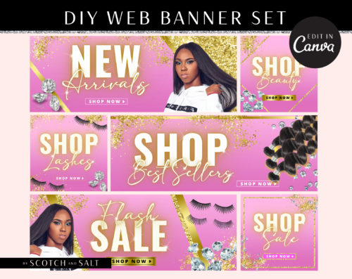DIY Pink Gold Glitter Web Banners, Web Design Kit, Hair Lash Beauty Makeup Website Slider Banner Template, Website Store Category banner set