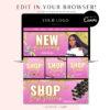 DIY Pink Gold Glitter Web Banners, Web Design Kit, Hair Lash Beauty Makeup Website Slider Banner Template, Website Store Category banner set