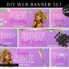 DIY Drip Glitter Web Banners, Web Design Kit, Hair Lash Beauty Makeup Website Slider Banner Template, Neon Pink Website Category banner set