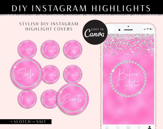 Rhinestone Instagram Highlight covers, DIY Diamond Glitter Instagram Branding, Instagram Icon, Instagram Template, diy insta Story Icons