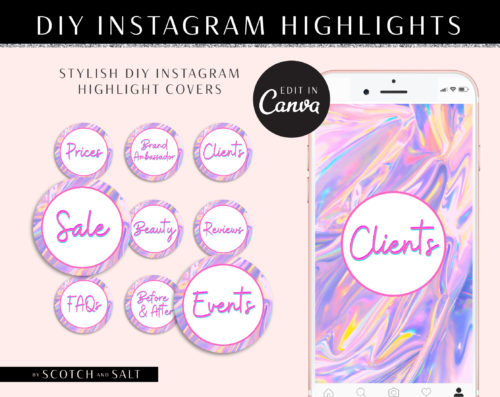 Holographic INSTAGRAM HIGHLIGHT covers, DIY instagram Story Icons Template, Hologram Glitter Instagram Branding, Hologram Instagram Icon