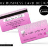 DIY Pink Glitter Credit Card Business Cards, Diamond Credit Card Business Card Template, Lash Hair Extensions Discount Business Cards