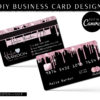 DIY Credit Card Business Cards Black Rose Gold Drip Glitter, Diamond Credit Card Business Card Template, Lash Hair Extensions Business Cards