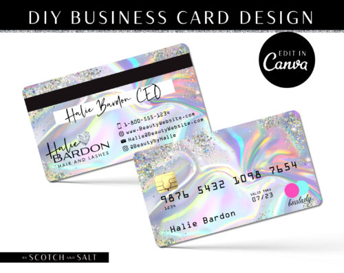 DIY Hologram Glitter Credit Card Business Cards, Diamond Credit Card Business Card Template, Holographic Lash Hair Extensions Business Cards