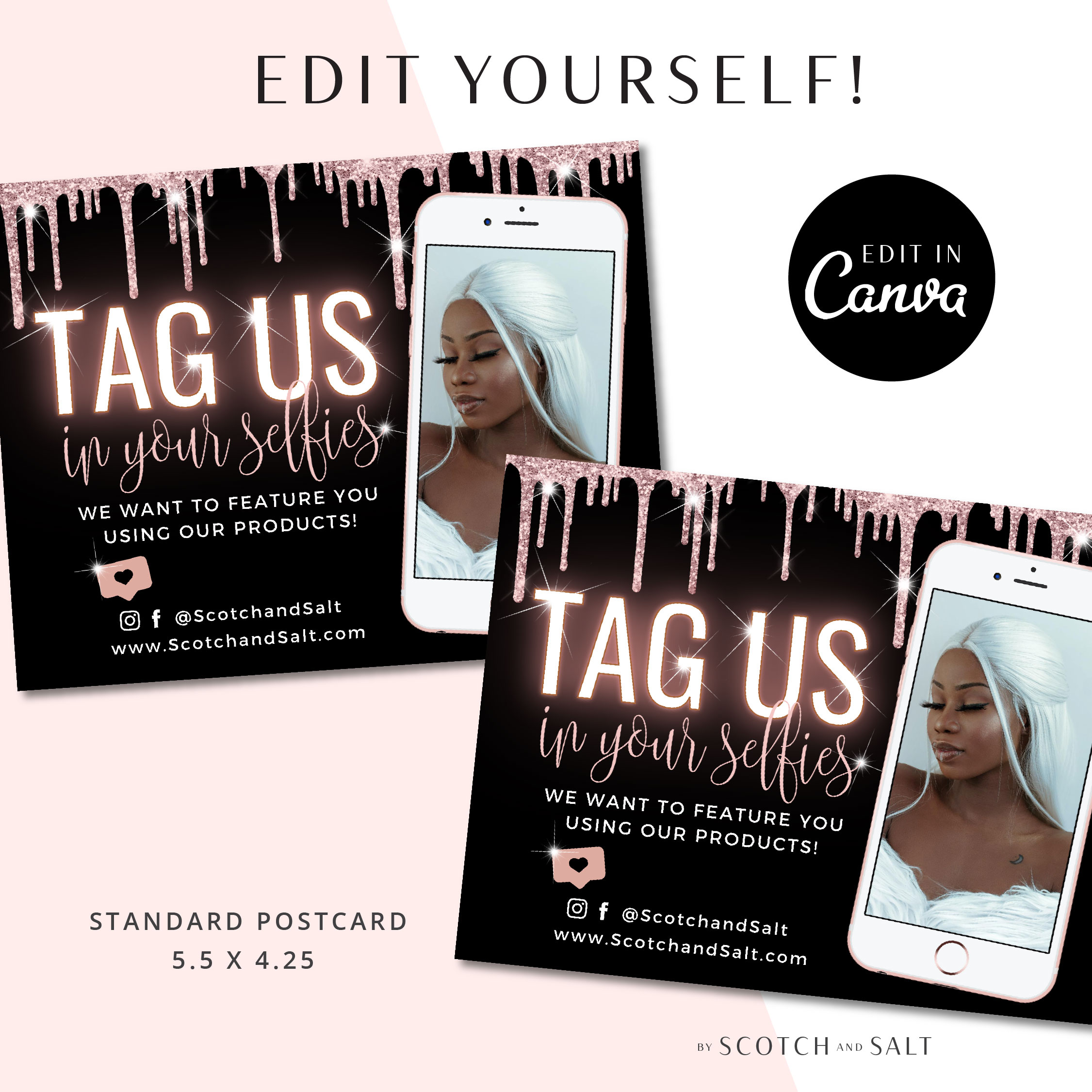 DIY TAG US in your selfie Thank You Card Template, Rose Gold Glitter Loyalty Postcard, Marketing Card Etsy Seller Printable Packaging Insert
