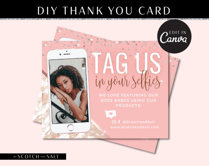 DIY Marble Selfie Thank You Flyer, DIY Custom For Your Brand, Tag Us Selfie Marketing Social Media, Hair Extensions Lashes Wigs Lash Diamond