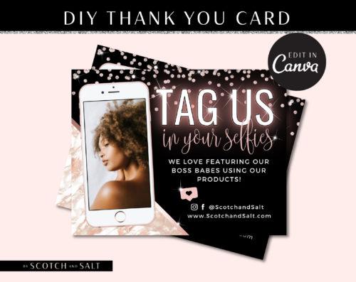DIY Marble Selfie Thank You Flyer, DIY Custom For Your Brand, Tag Us Selfie Marketing Social Media, Hair Extensions Lashes Wigs Lash Diamond