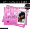 Rose Gold Glitter Flyer for Selfie Thank You Card, Pink Glitter Loyalty Postcard, Marketing Card Hair and Lash Printable Packaging Insert