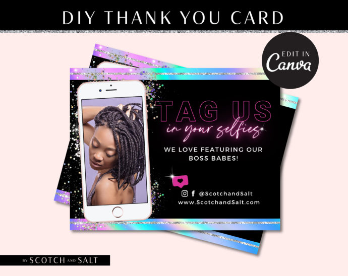 DIY Thank You Card Template, Holographic Loyalty Postcard, Business Thank You Card Template, Hologram Printable Packaging Inserts
