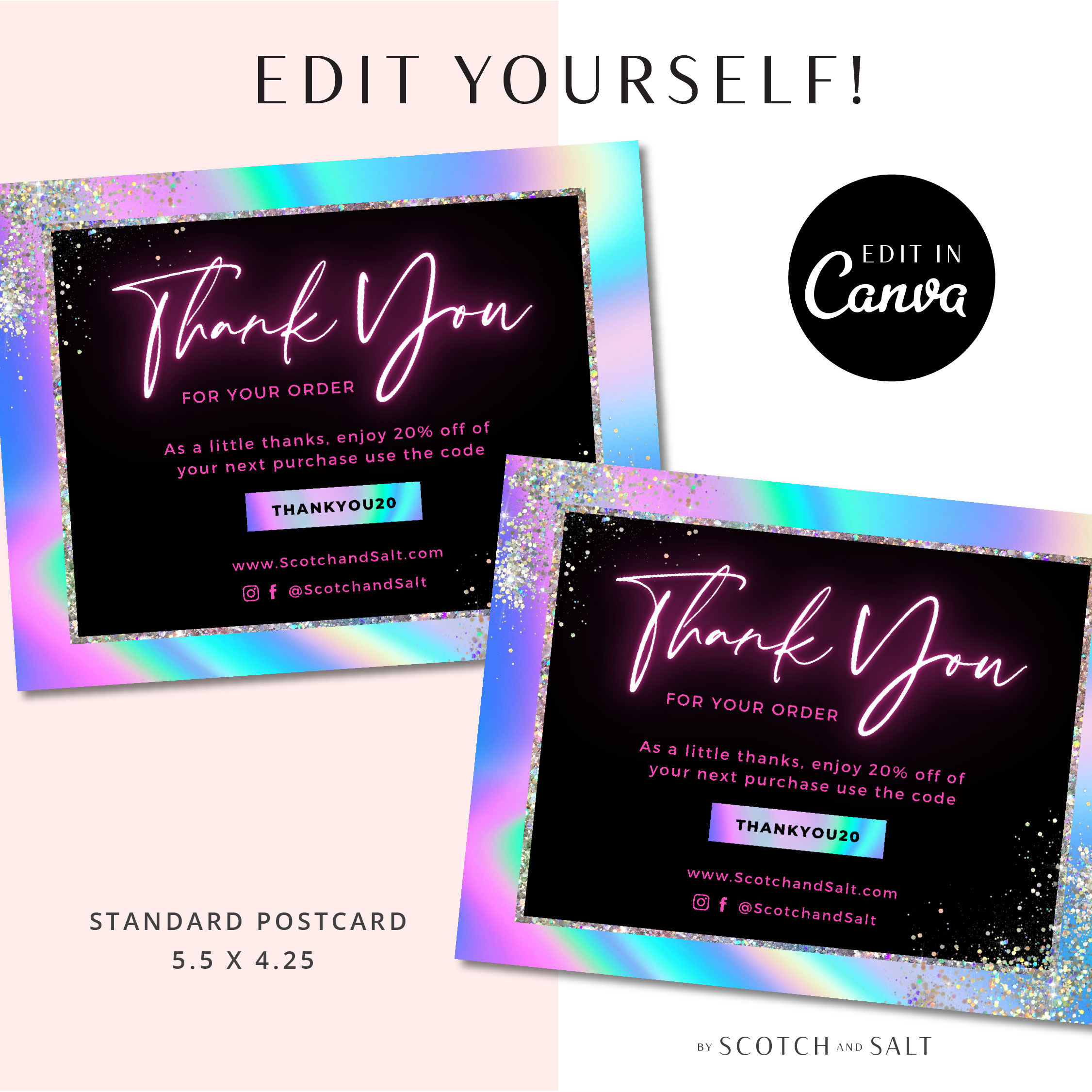 Holographic thank you card flyer for Hair, Loyalty Postcard, Business Thank You Card Template, Etsy Seller Printable Packaging Inserts