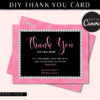 Diamond Thank you Card Template, Rhinestone Hair Loyalty Postcard, Business Thank You Card Lash, Etsy Seller Printable Packaging Inserts