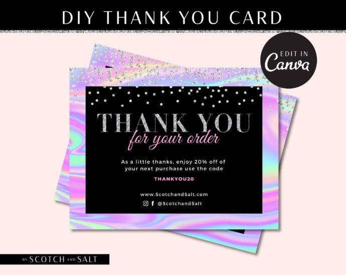 Custom Hair Thank you Card Template Holographic, Hologram Loyalty Postcard, Business Thank You Card, Etsy Seller Printable Packaging Inserts