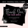 Hair Thank You Flyer Card Template Glitter, Silver Glitter Loyalty Postcard, Business Thank You Card, Etsy Seller Printable Packaging Inserts