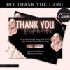 DIY Hair Thank You Cards Template, Rose gold Marble Loyalty Postcard, Business Thank You Card, Etsy Seller Printable Packaging Inserts
