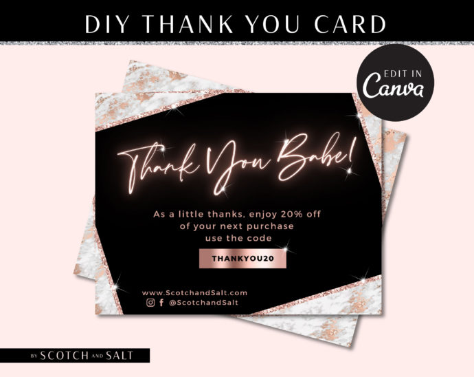 DIY Hair Thank You Card Template, Rose gold Marble Loyalty Postcard, Business Thank You Card, Etsy Seller Printable Packaging Inserts
